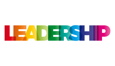 The word Leadership. Vector banner with the text colored rainbow. Çizim