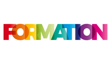 formation: The word Formation. Vector banner with the text colored rainbow. Illustration