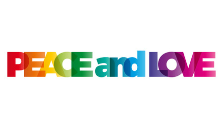 banner of peace: The word peace and love. Vector banner with the text colored rainbow.