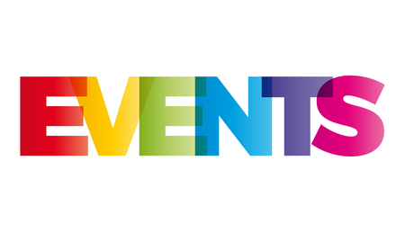 The word Events. Vector banner with the text colored rainbow.
