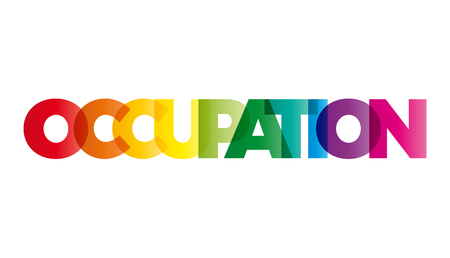 precarious: The word Occupation. Vector banner with the text colored rainbow.