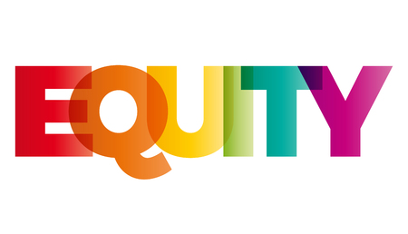 La palabra equidad. vector de la bandera con el arco iris de colores de texto.