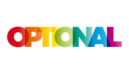 optional: The word Optional. Vector banner with the text colored rainbow.