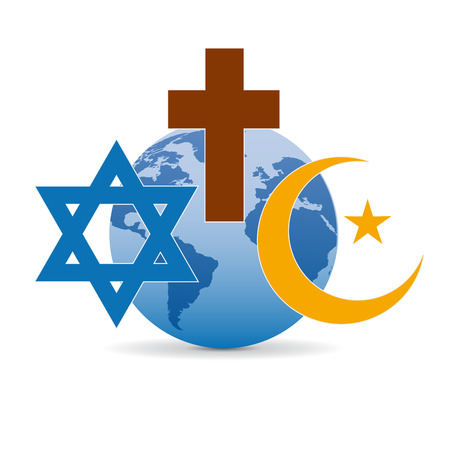 Peace and dialogue between religions. Christian symbols, jew and Islamic Çizim