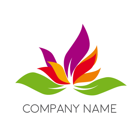 Vector abstract flower logo. Spa, yoga and relax concept
