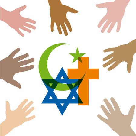 Peace and dialogue between religions. Christian symbols, jew and Islamic Ilustração
