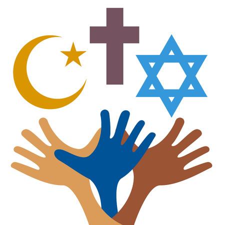 Vrede en dialoog tussen religies. Christelijke symbolen, jood en Islamitische