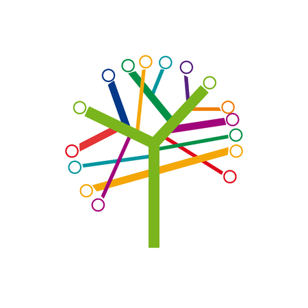 ecologic: Abstract colorful tree, ecologic network Illustration