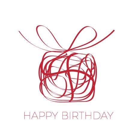 garabatos: Un regalo para su feliz cumpleaños. garabato del vector de la caja con el arco