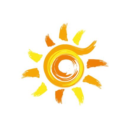 Vector abstract sun, handmade with brushstrokes