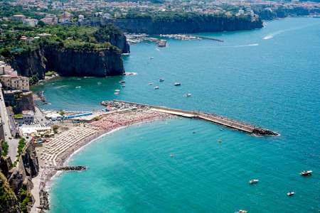 sorrento: View of Sorrento, Italy. Beach and bathers