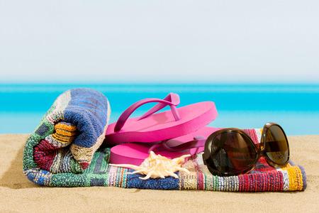 flops: Flip flops on the beach
