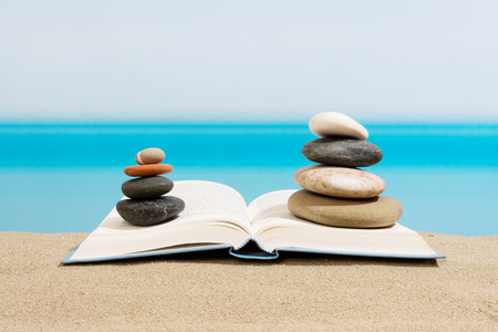 书在沙滩上,在海滩上放松