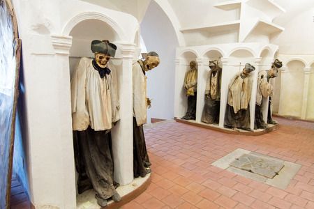 catacomb: GANGI, ITALY -  July 03, 2016: The crypt of the mother church, where all priests are buried mummified. Editorial