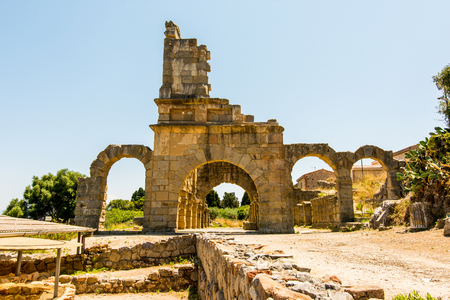 view ancient  roman city of Tindarys, Sicily Stock Photo