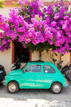 fiat: TINDARI, ITALY - JULY 04, 2016: Old green Fiat Nuova 500,  parked under a bouganville