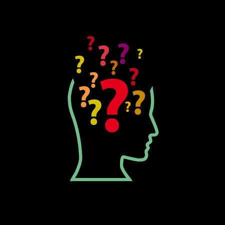 perplexity: Human Doubt, question mark in the head Illustration