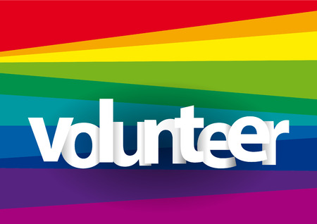 Volunteer text on rainbow background