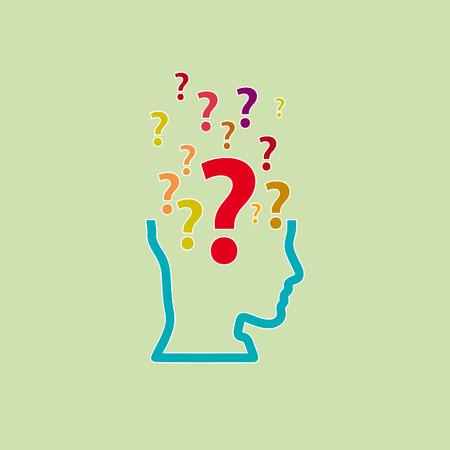 La duda humana, signo de interrogación en la cabeza