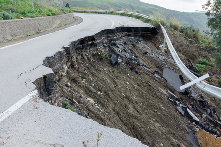 Landslide on a national road in Sicily Stock Photo - 62062626