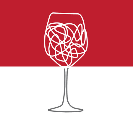 wine trade: Vector abstract glass of wine, drawing with lines