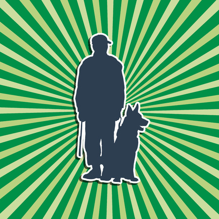 Vector silhouette  Dog Trainer green background