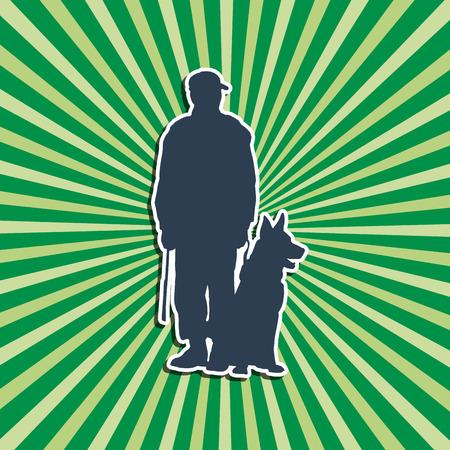 dog sitter: Vector silhouette  Dog Trainer green background
