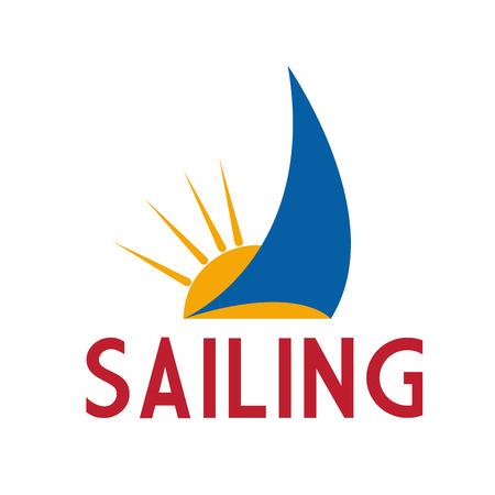 sailing ship: Vector sign sailing ship, sun and boat Illustration