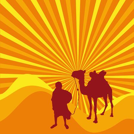 sahara desert: Vector cover sahara, caravan in the desert Illustration