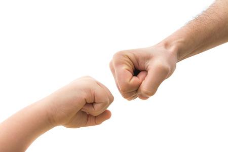 Fist vs punch. Generational clash concept