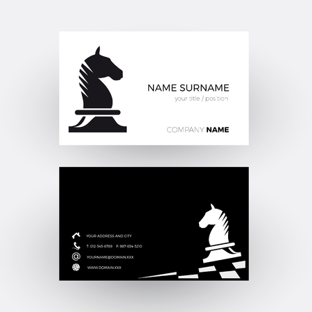 patience: Vector Abstract Chess with horse background. Business card Illustration