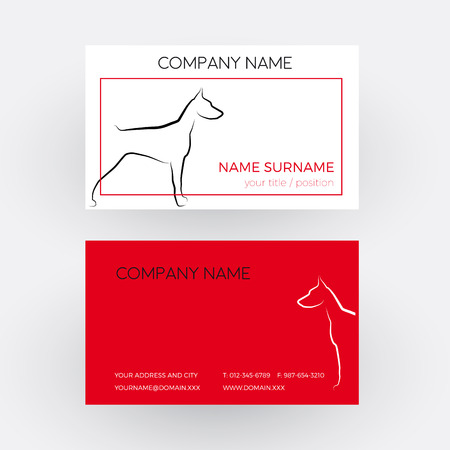 Vector Abstract dog, doberman. Business card