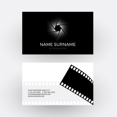 Abstract clapperboard and movie film filmmaker concept business vector diaphragm and camera roll concept of photographer business card vector colourmoves Choice Image