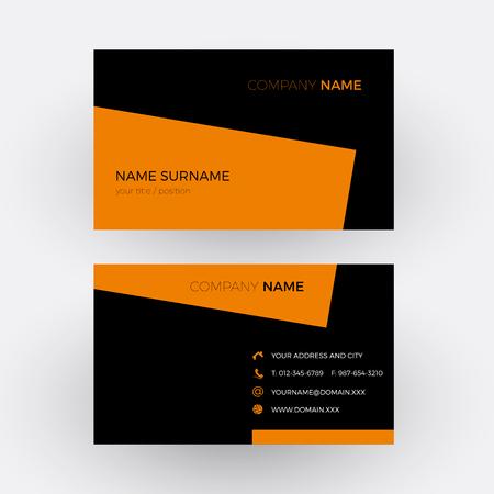 black professional: Vector elegant and professional business card, orange and black