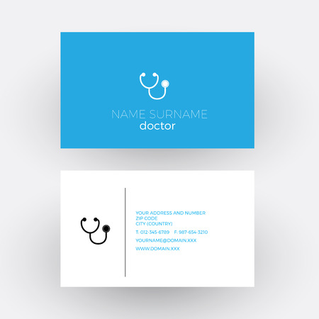 vector vector abstract sign stethoscope doctor business card - Doctor Business Card