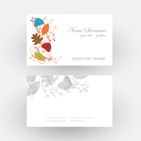 change business: Vector Abstract autumn background, concept nature that change. Business card