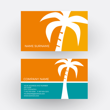 tour operator: Vector abstract summer adventures. Business card Illustration