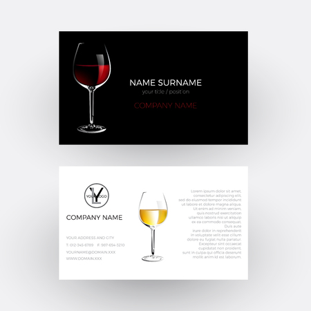 vinery: Vector abstract glass of red wine, concept of vinery and wine steward; Business card