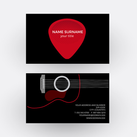 plectrum: Vector abstract sign plectrum and guitar. Guitarist business card