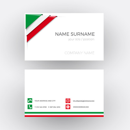 drapeau mexicain: Vector Abstract Corner with Italian and Mexican flag. Business card Illustration