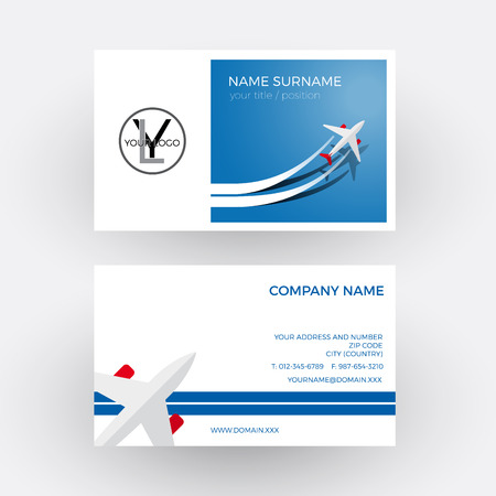 tour operator: Vector air travel background. Blue business card