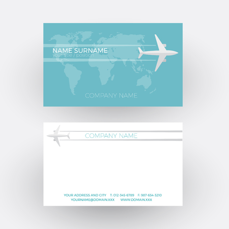 tour operator: Vector air travel background. Airplane fly on the world. Business card