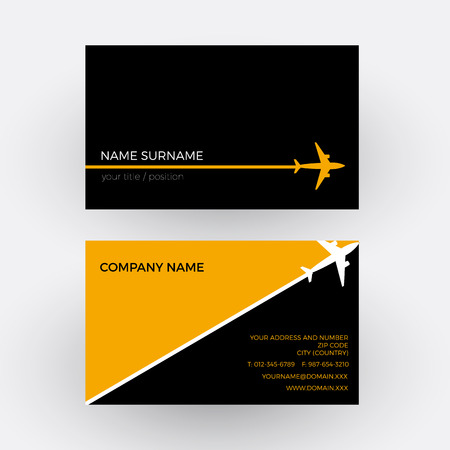 tour operator: Vector air travel background. Black and orange business card Illustration