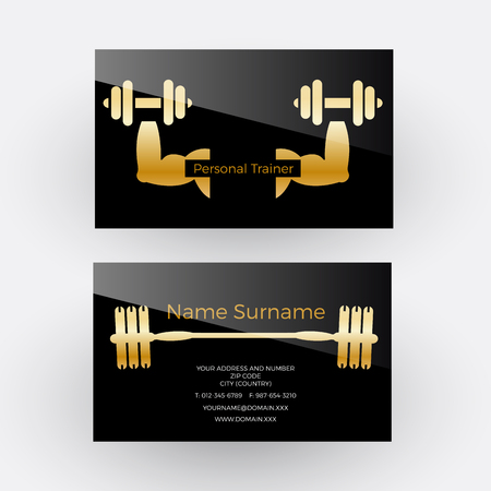 Vector abstract sign personal trainer. Business card