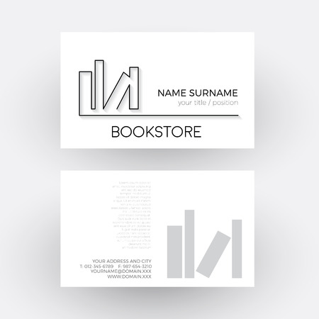 the writer: Vector Abstract book, concept of writer and bookstore. Business card