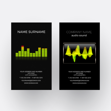 oscilloscope: Vector abstract equalizer and oscilloscope. Music business card
