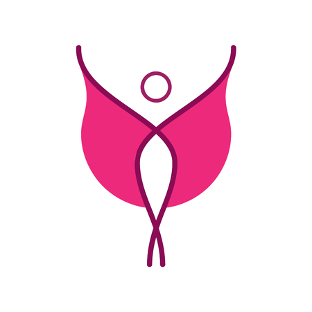 arms trade: Vector sign pink model. Woman with wings or cloak