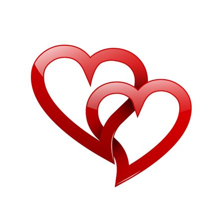 Zwei verdrehte rote Herzen. Konzept der ewigen Liebe