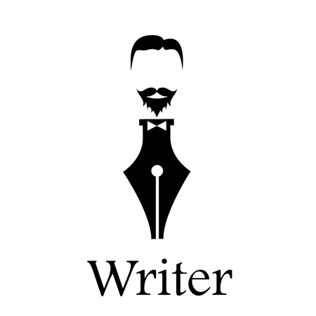 writer: sign writer. Fountain pen, head of a bearded man