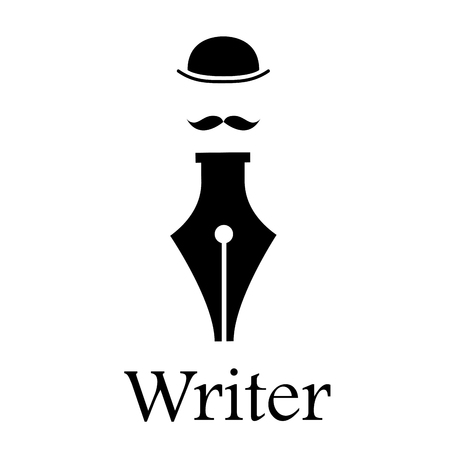 storyteller: sign writer. Fountain pen, man with hat and mustache